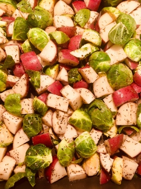 Brussels Sprouts + Baby red potatoes